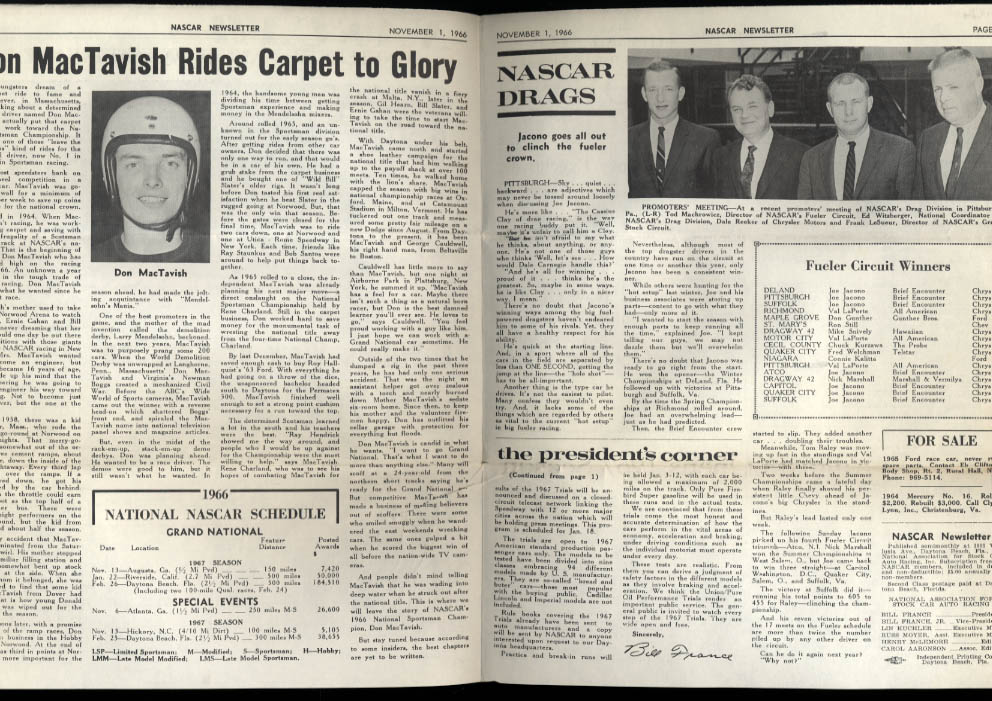 NASCAR NEWSLETTER 11/1 1966 Mrs Coo-Coo Marlin interview; Don MacTavish