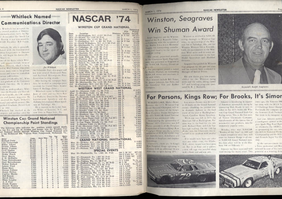 NASCAR NEWSLETTER 3/1 1974 Yarboriugh & Pearson; Dogwood 500 Bobby Allison