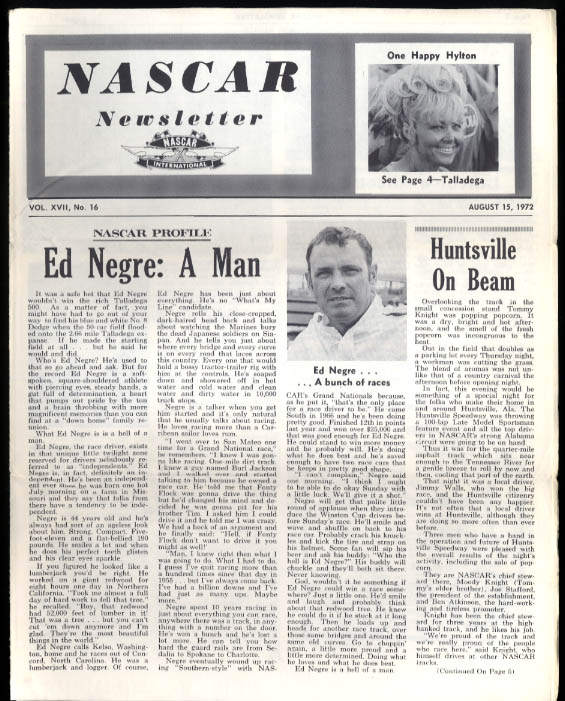 NASCAR NEWSLETTER 8/15 1972 Ed Negre Talladega 500 Stafford Labor Day 200