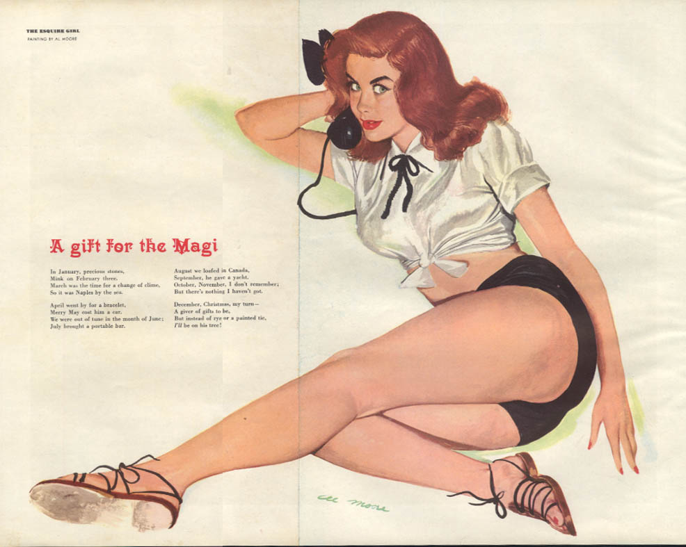 ESQUIRE pin-up foldout A Gift for the Magi by Al Moore 1950 redhead short-shorts