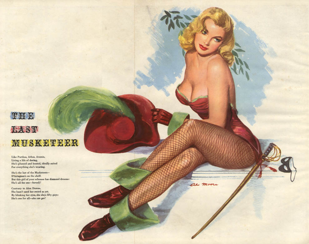 ESQUIRE pin-up foldout Last Musketeer by Al Moore 1951 fishnets blonde mask