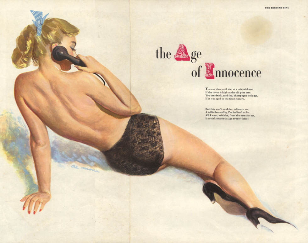ESQUIRE pin-up foldout Age of Innocence by Al Moore 1951 topless blond from rear