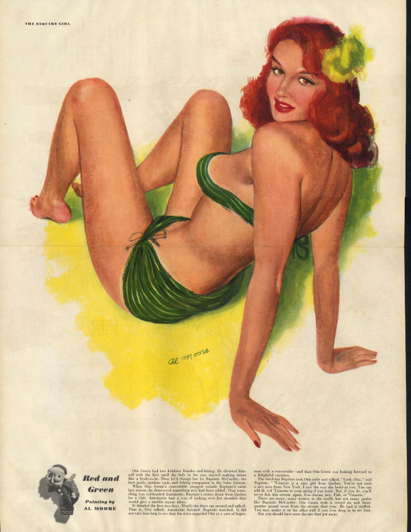 ESQUIRE pin-up foldout Red & Green by Al Moore 1948 redhead green bikini