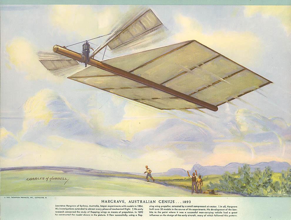 Hargrave Australian Flap-Wing Propeller Flyer 1892 Hubbell calendar print 1952