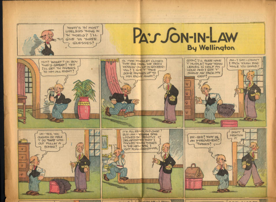 Worcester Evening Telegram Comics 2/1 1928 Clarence; Pa's Son-in-Law