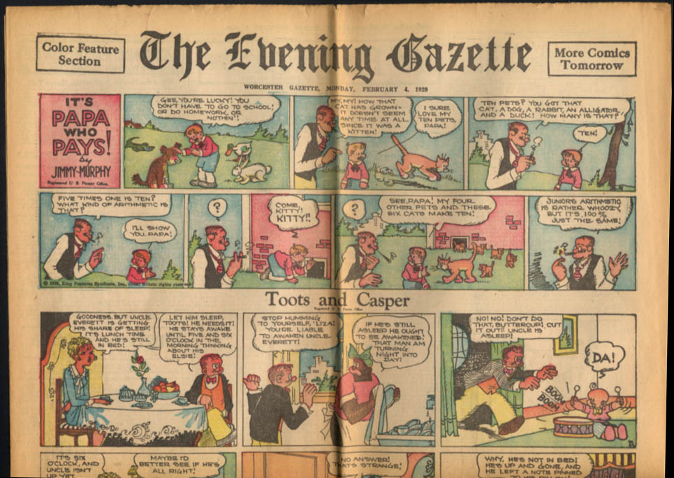 Worcester Evening Telegram Comics 2/4 1929 It's Papa Who Pays; Toots & Casper