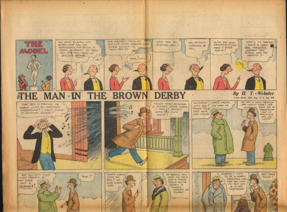 Worcester Evening Telegram Comics 3/9 1928 Slim Jim & The Force Man Brown Derby