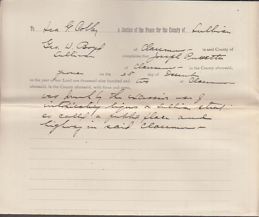 Claremont NH Arrest Warrant 1902 Joseph Puccetti drunk in a public place