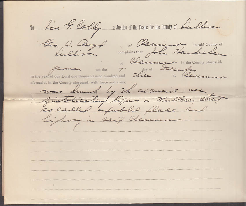 Claremont NH Arrest Warrant 1903 John Handrahan drunk in a public place