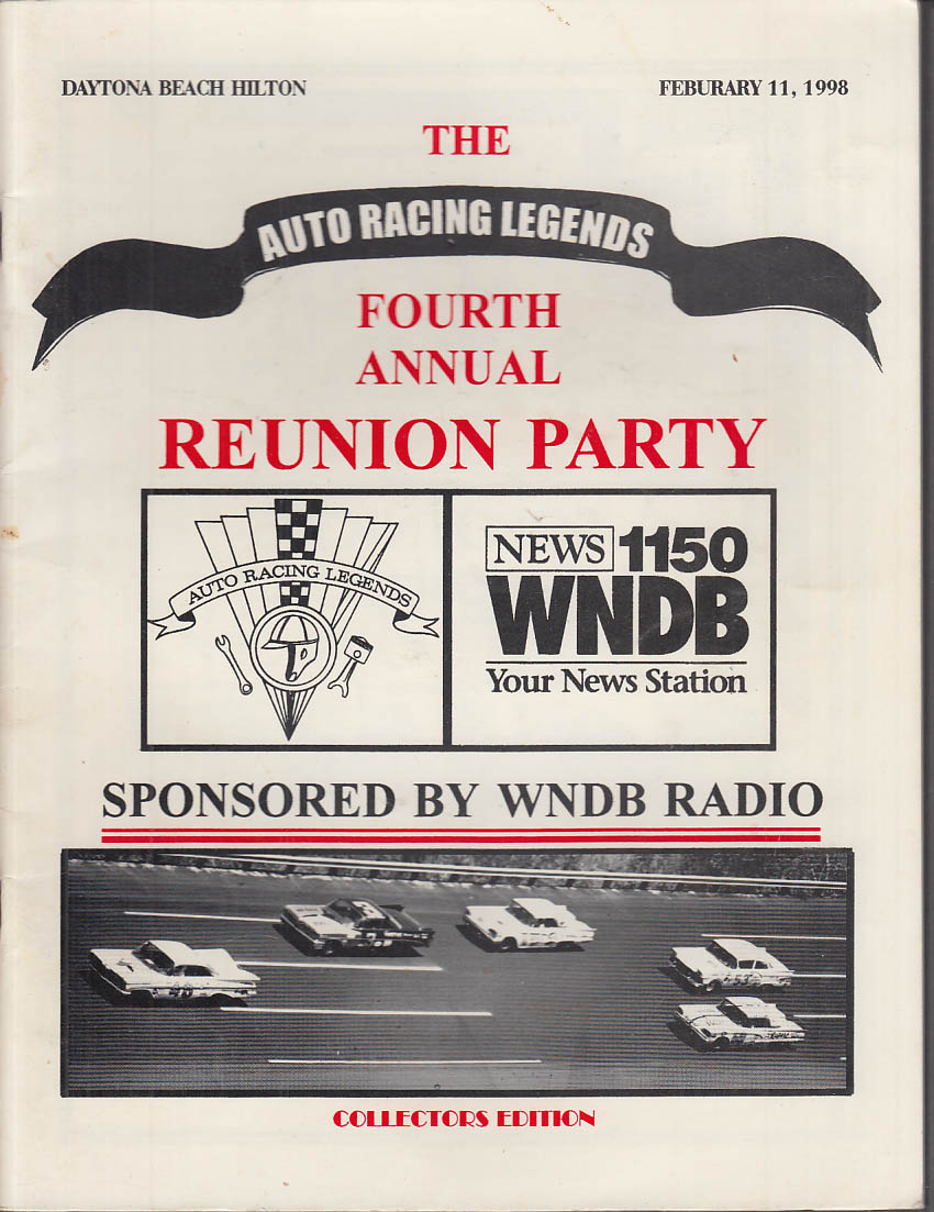Auto Racing Legends 4th Annual Reunion Program Daytona Beach 1998