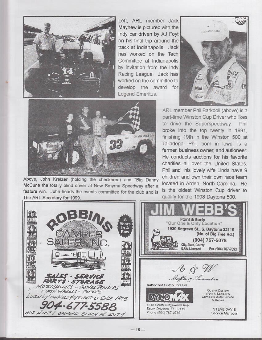 Auto Racing Legends 5th Annual Reunion Program Daytona Beach 1999