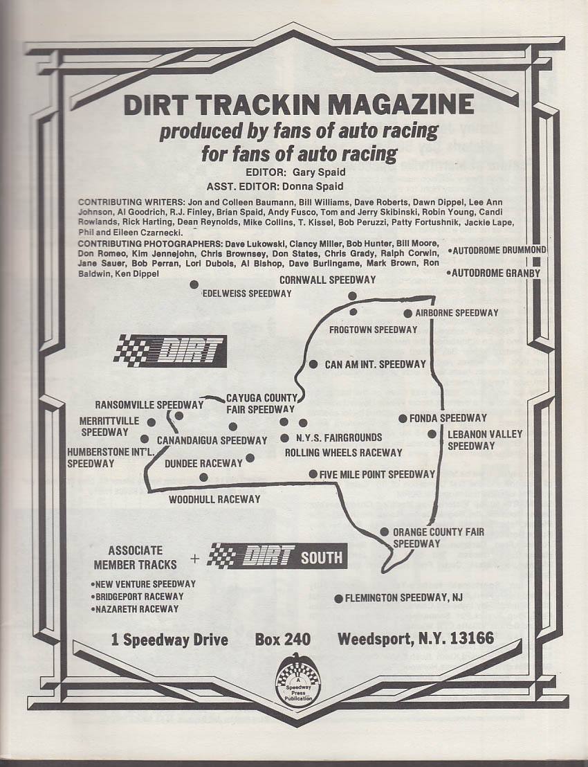 DIRT TRACKIN #9 1988 Billy Decker Jack Johnson McCreadle & Colsten +