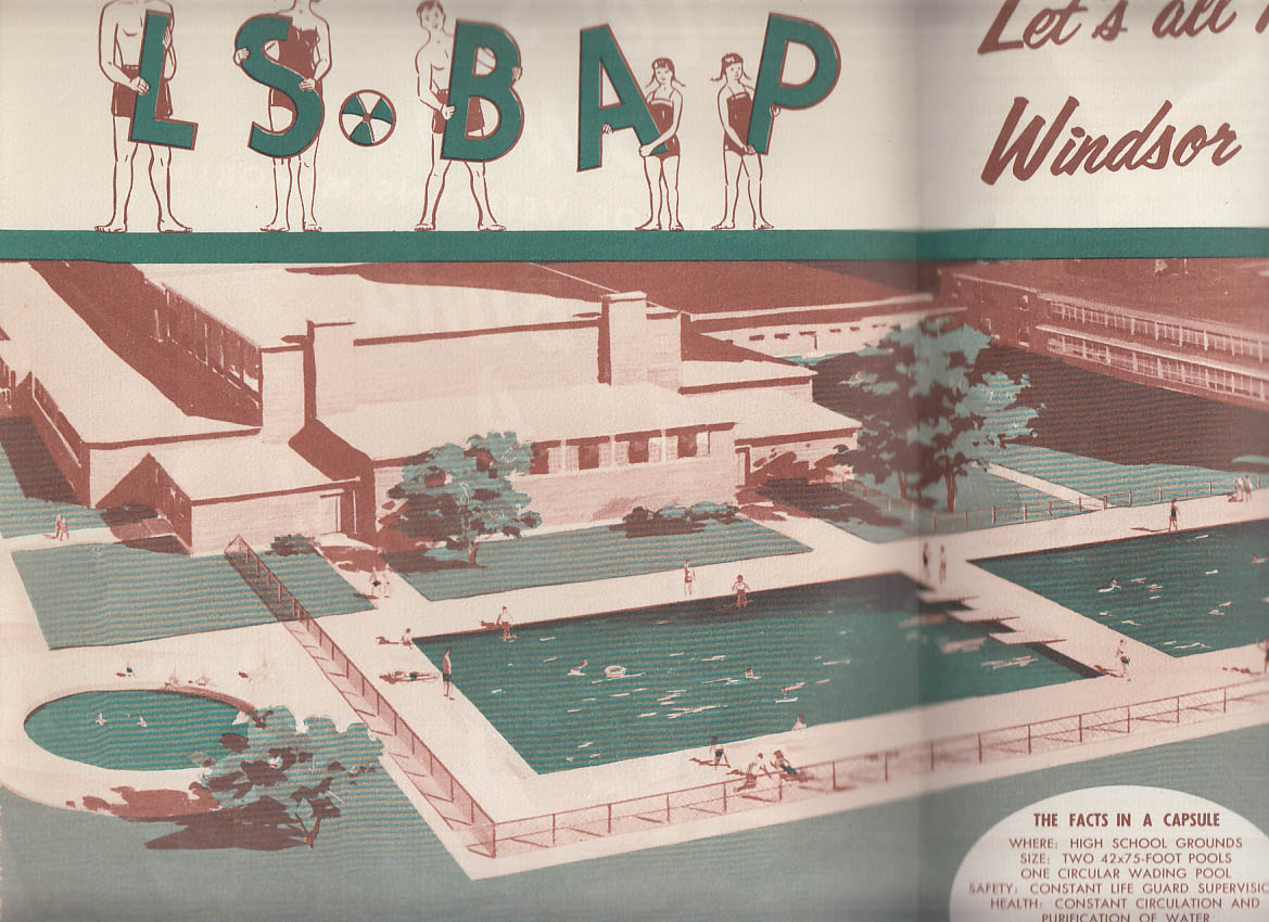 Windsor Veterans Memorial Swimming Pool Assn CT Let's Build a Pool 1955