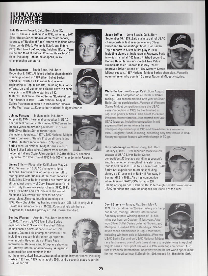 True Value A J Foyt Hullman Hoosier 100 Program Indiana State Fairgrounds 1999