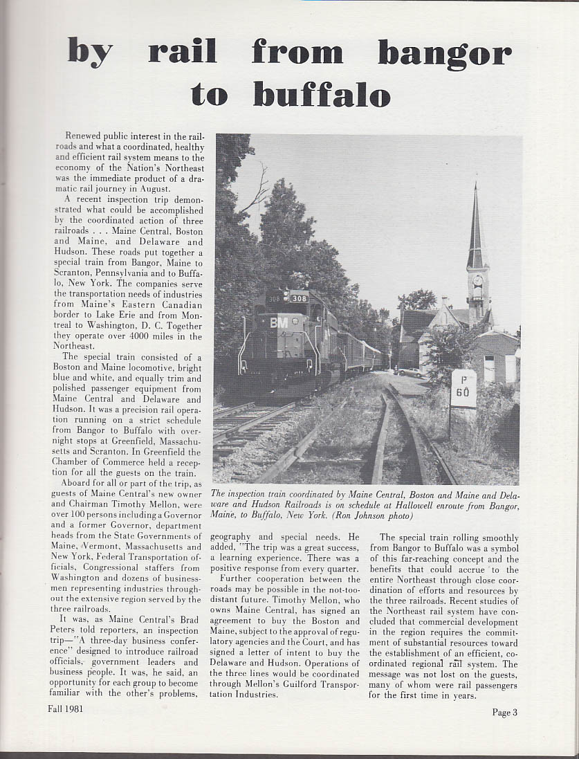 Maine Central RR MESSENGER Fall 1981 Bangor-Buffalo GN Paper Bucksport