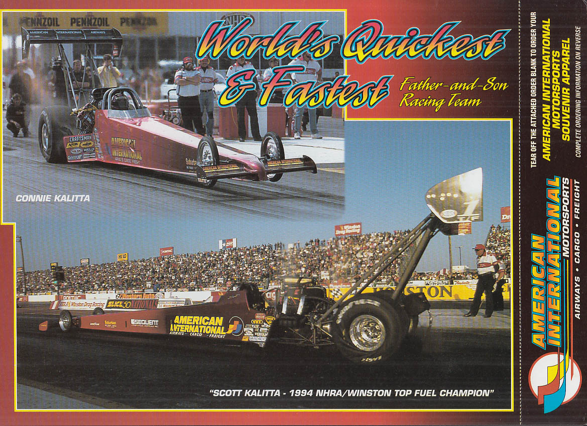 Connie & Scott Kalitta American International NHRA Top Fuel promo card 1994