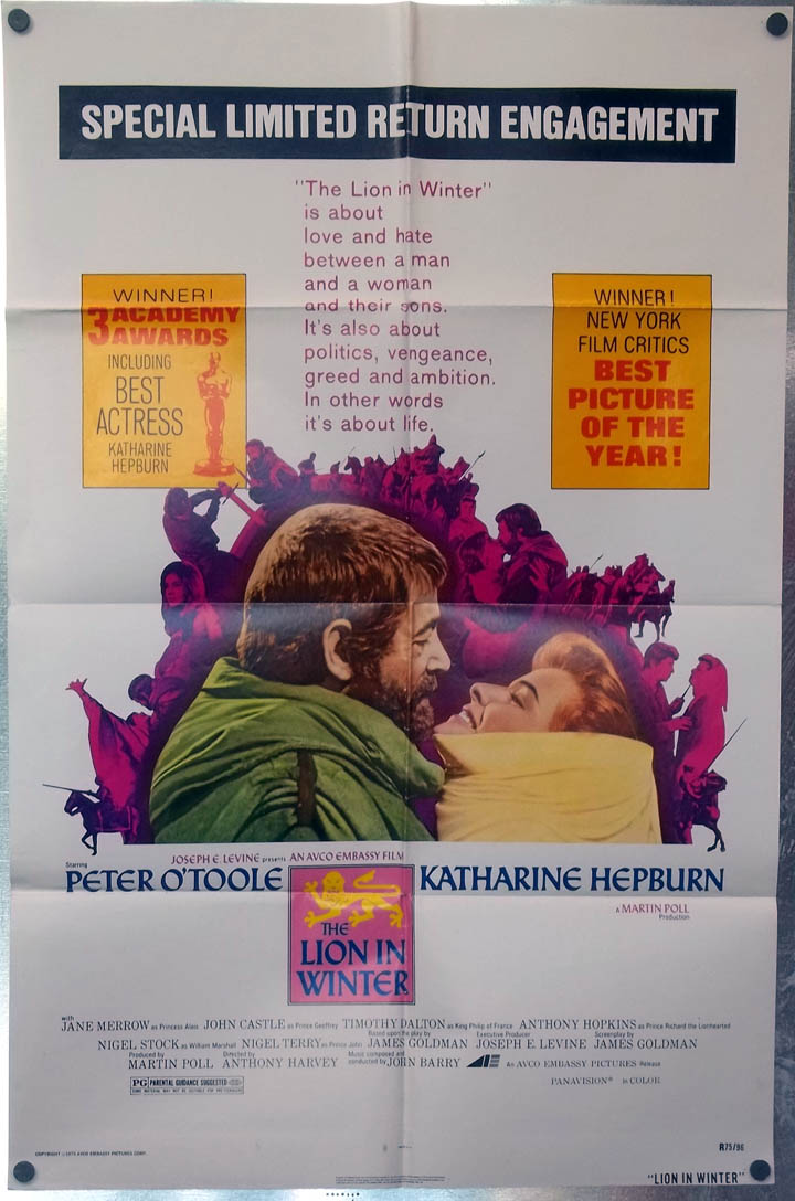 The Lion in Winter one-sheet movie poster re-release 1975 Hepburn & O'Toole