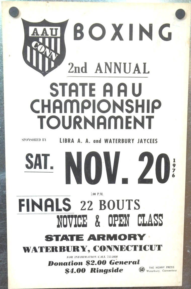 Connecticut AAU Boxing Tournament Poster Waterbury 1976