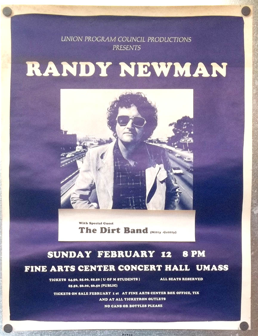 Randy Newman & Nitty-Gritty Dirt Band UMass poster 1978