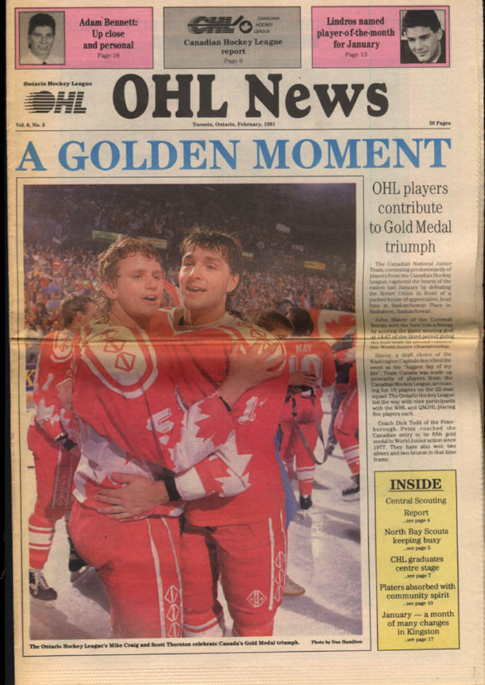 Ontario Hockey League OHL NEWS 2 1991 Lindors; World Junior Gold Medal Team