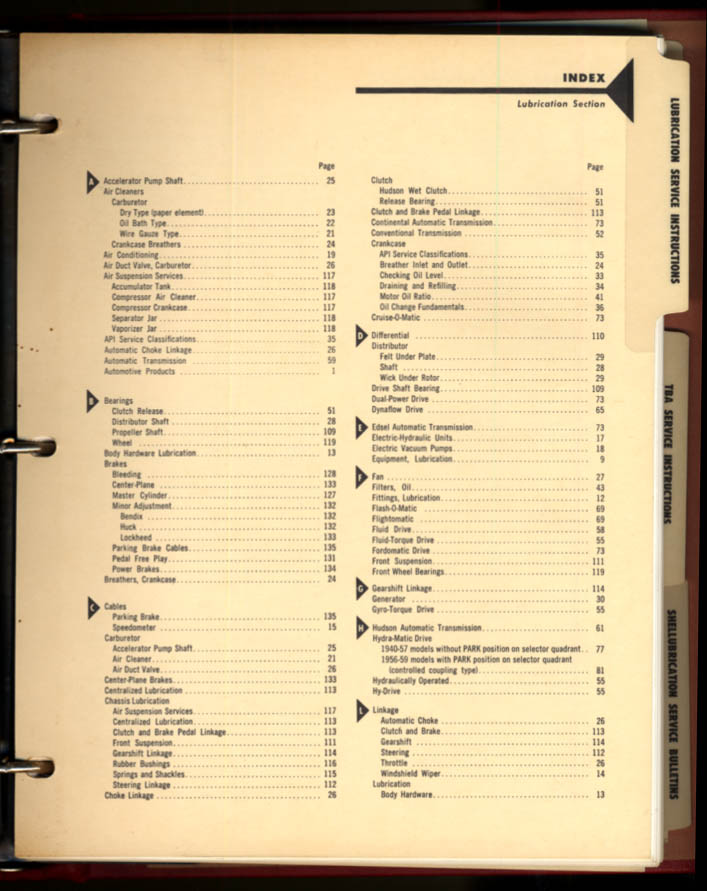 Shell Oil Shellubrication Service Instructions & Bulletins 1958-1959