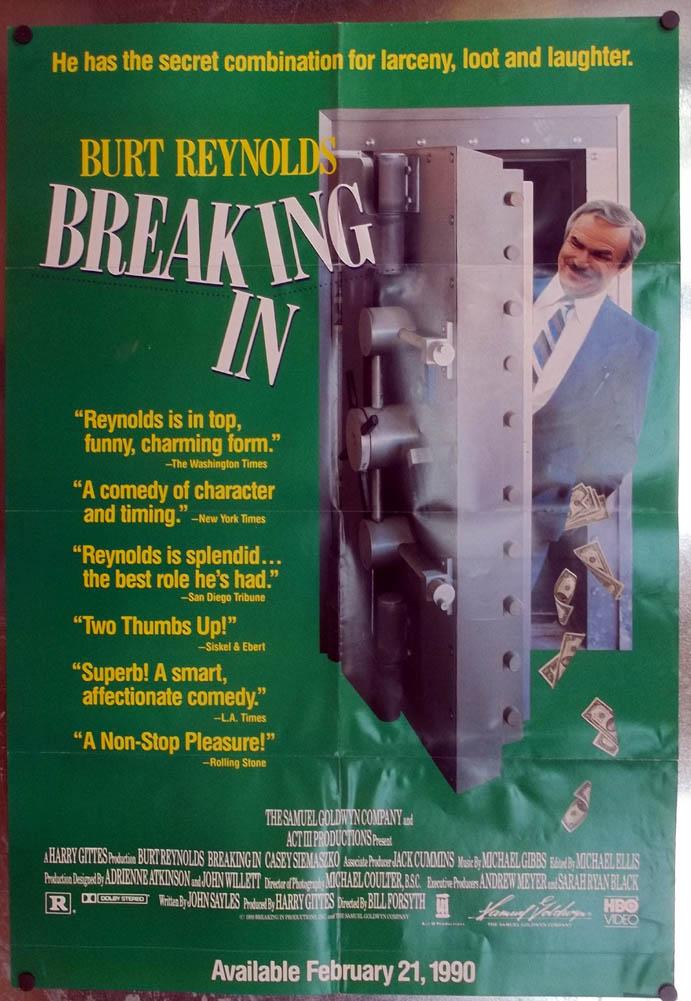 Breaking In video store poster 1990 Burt Reynolds Casey Siemaszko