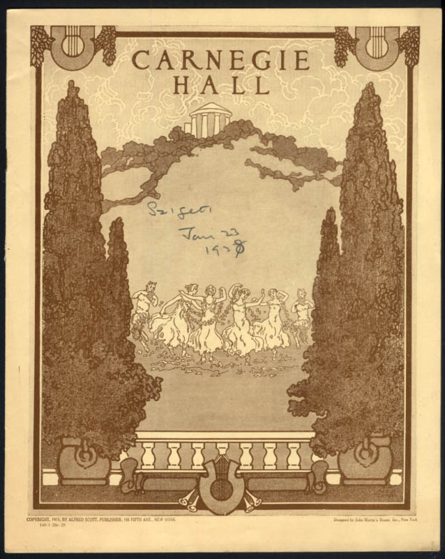 Violinist Joseph Szigeti Carnegie Hall Program 1/22 1928