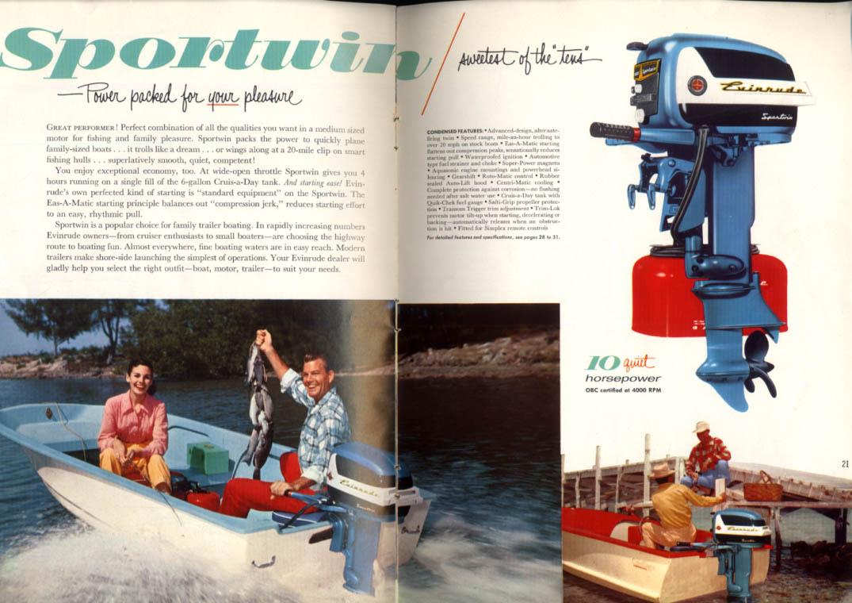 1957 Evinrude Outboard Motor catalog Lark Big Twin Eastwin Sportwin Fleetwin