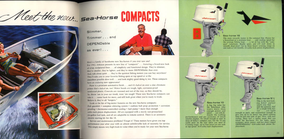 1962 Johnson Sea-Horse Outboard Buyer's Guide V-75 40 28 18 10 5 1/2 3