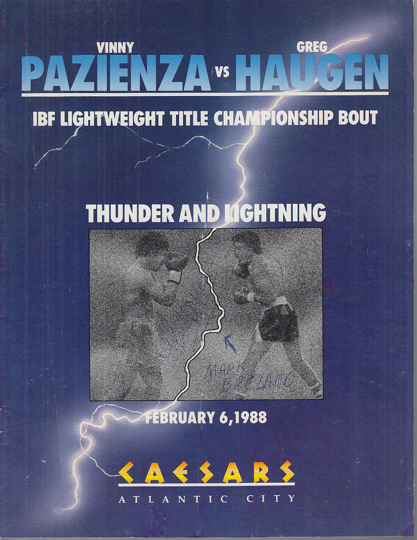 Pazienza-Haugen Title Fight Prgrm w/ stub 1988 SIGNED Mark Breland Jerry Cooney