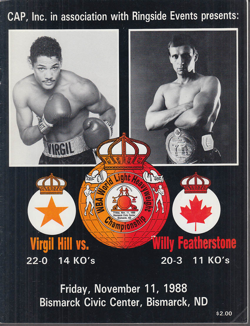 Image for Virgil Hill vs Willy Featherstone WBA Light Heavyweight Title Fight prgm 1988