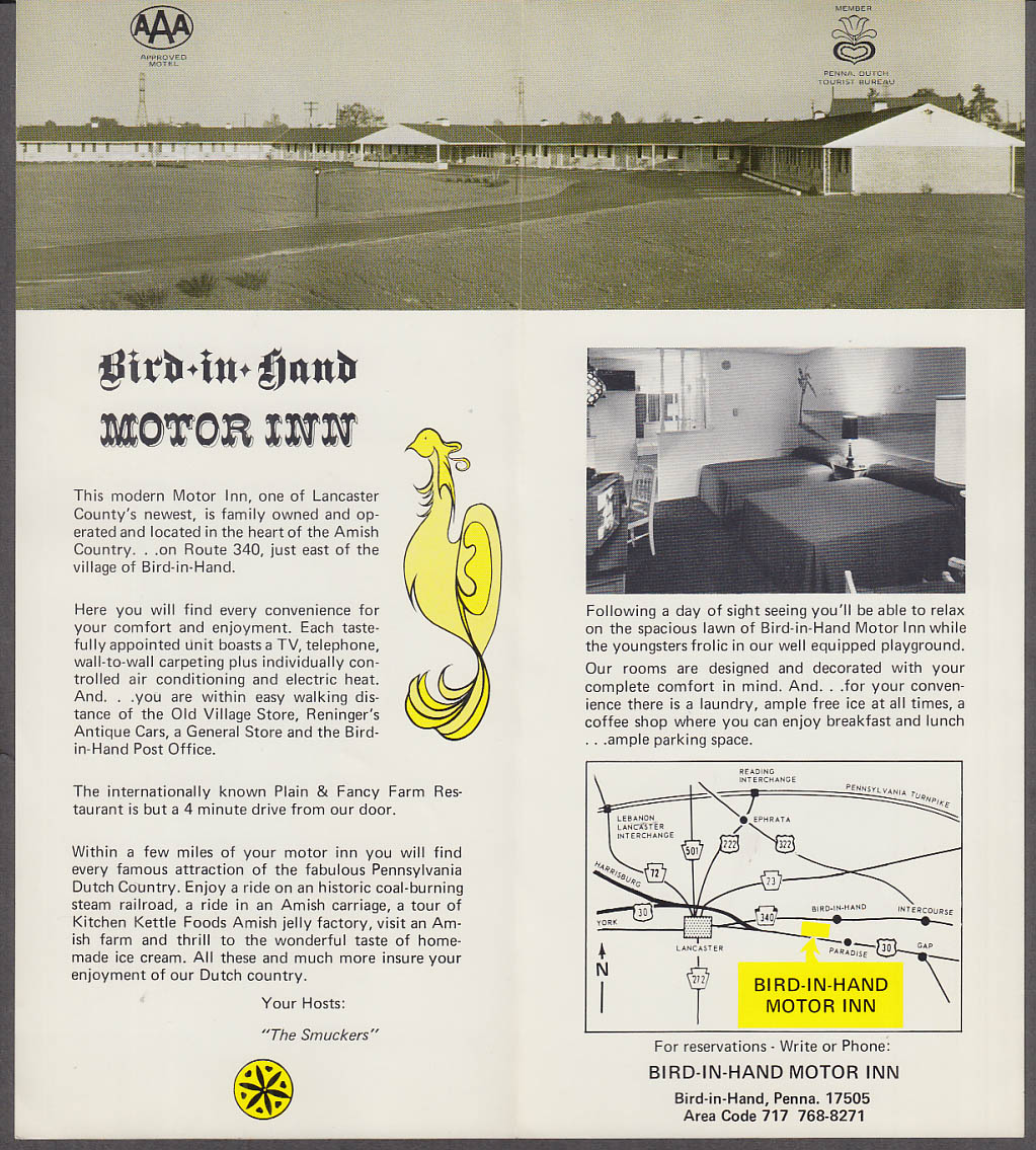 Bird-in-Hand Motor Inn tourist folder Lancaster County PA 1960s