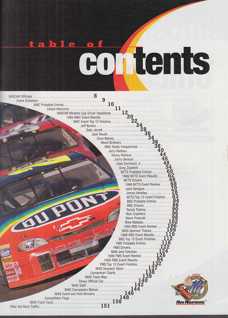 NASCAR Winston Cup New England 300 Official Race Program 2000 & ticket stub