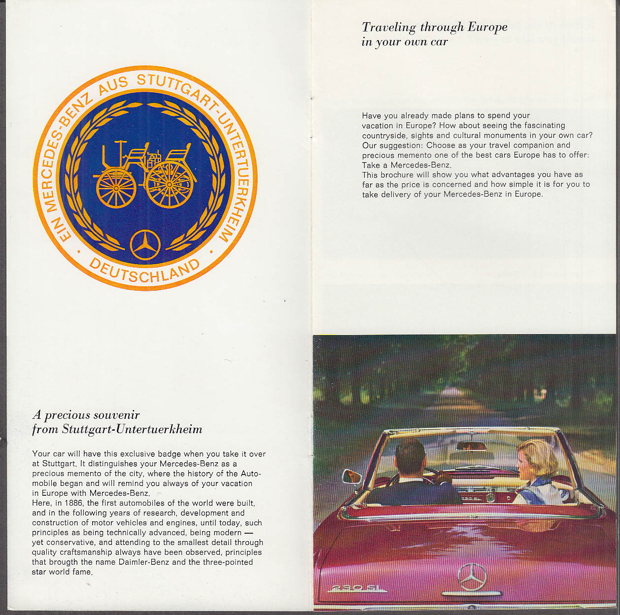 1965 Mercedes-Benz European Delivery brochure 230 SL 250 SE Coupe ++