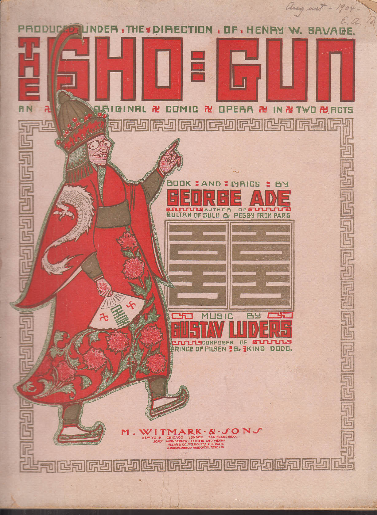 George Ade & Gustav Luders: The Sho-Gun Comic Opera Score 1904