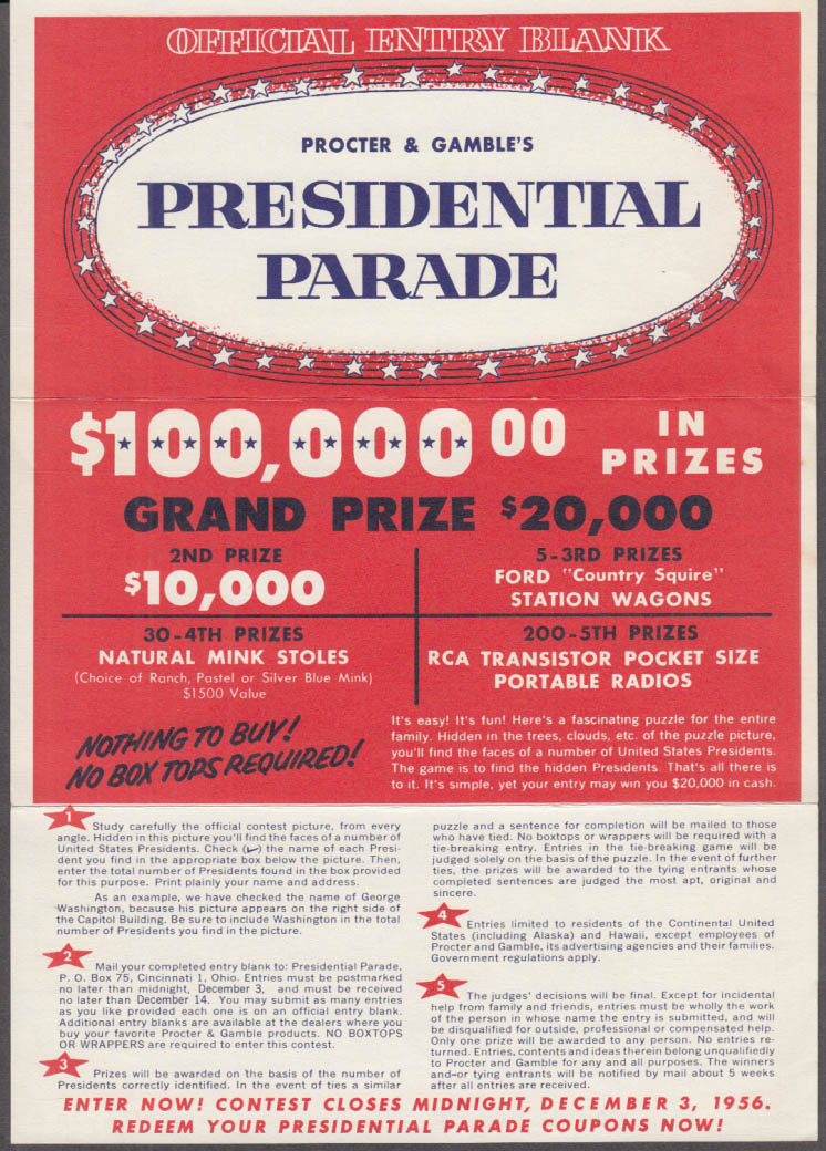 Procter & Gamble Presidential Parade Official Contest Entry Blank 1956