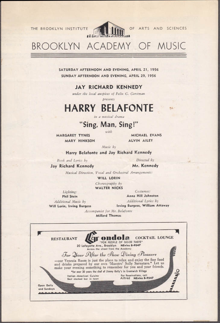 Harry Belafonte in Sing, Man, Sing! Brooklyn Academy of Music program 1956