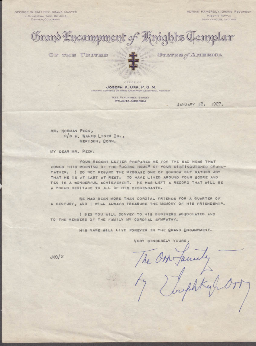 Grand Encampment Knights Templar condolence letter H Wales Lines 1927