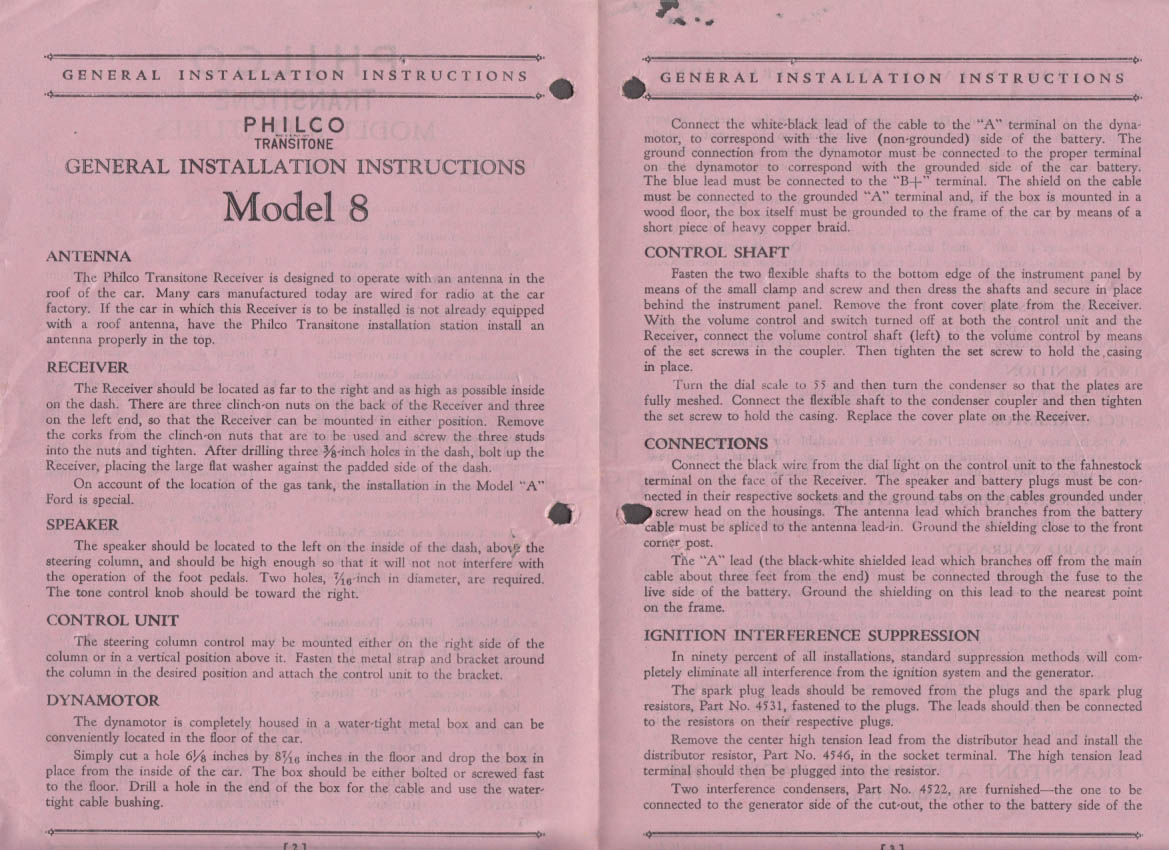 1932 Philco Transitone Automobile Radio Model 8 Installation Instructions