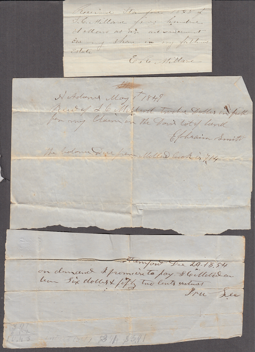 14 receipts, notes, promises to pay of S C Millard North Adams MA 1848-1878