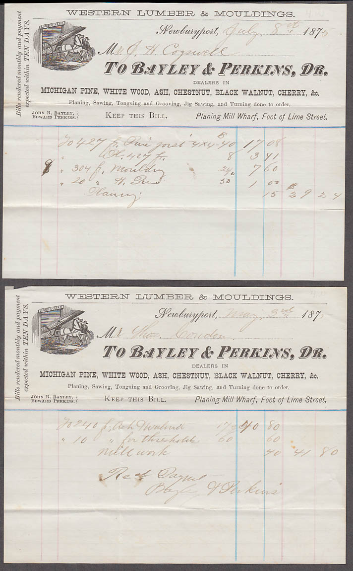 Bayley & Perkins Western Lumber Newburyport MA three invoices 1875