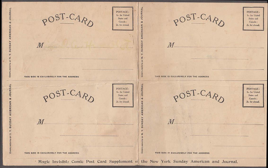 NY American Journal Examiner Magic Comic Postcard sheet uncut 1906