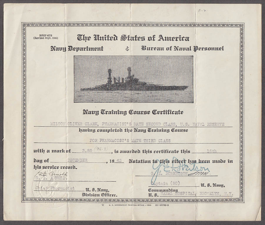 US Navy Training Course Certificate Pharmacist's Mate 3rd Class 1943