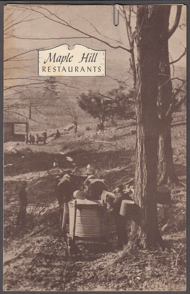 Maple Hill Restaurants Hartford & West Hartford CT Menu 12/8 1955