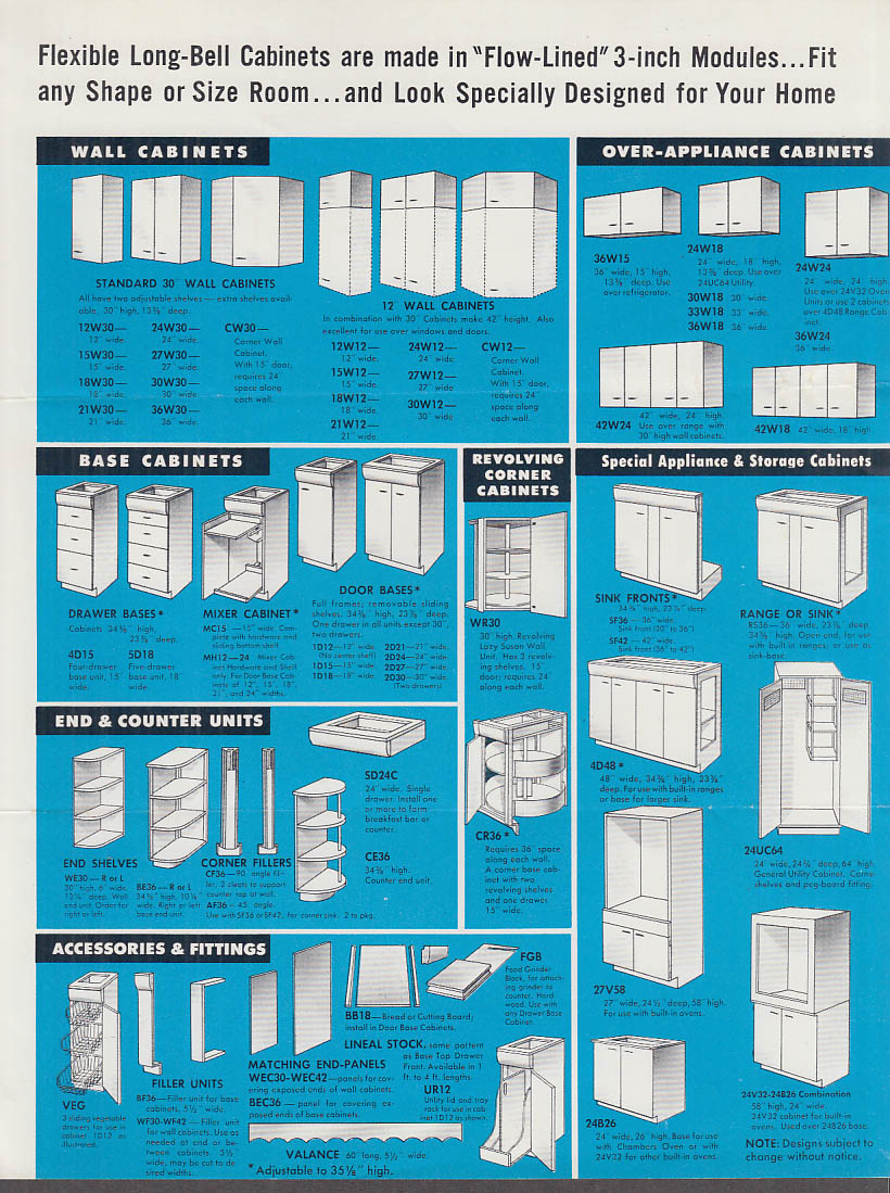 Long Bell Natural Wood Kitchen Cabinets Sales Folder 1955 Longview WA KC MO