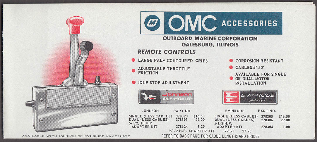 Outboard Marine OMC Accessories sales catalog 1960s