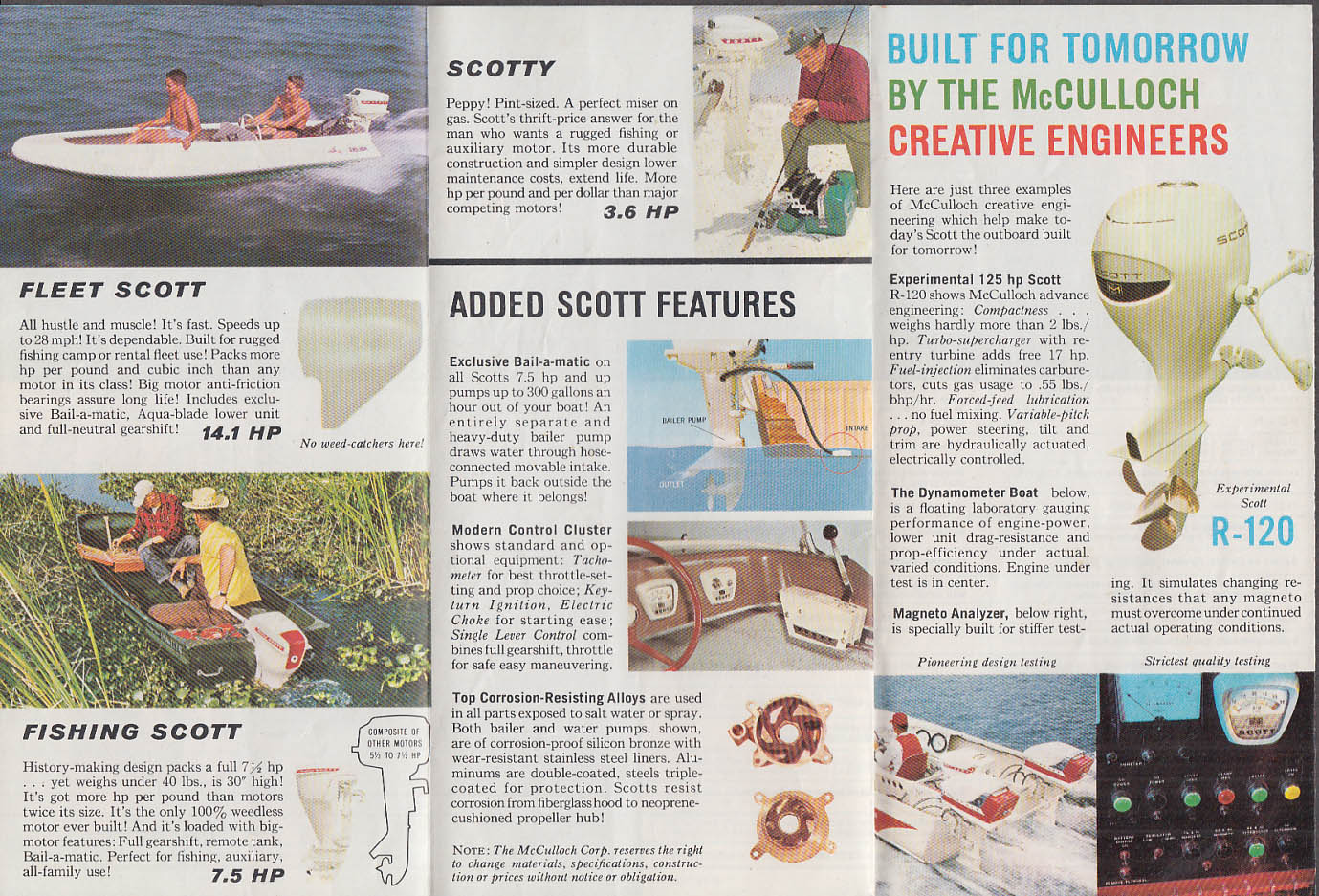 1961 Scott Outboard sales folder 1961 Flying Royal Sport Fleet Fishing Scotty