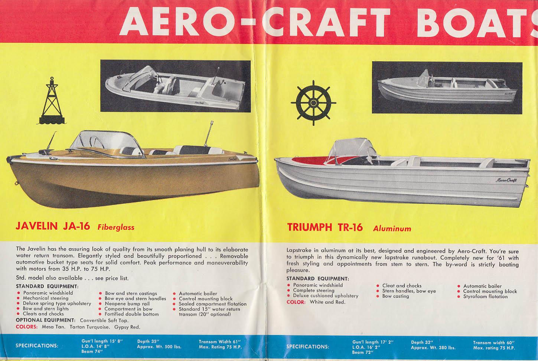 Aero Craft Aluminum & Fiberglass Speedboats & Canoes mailer 1961