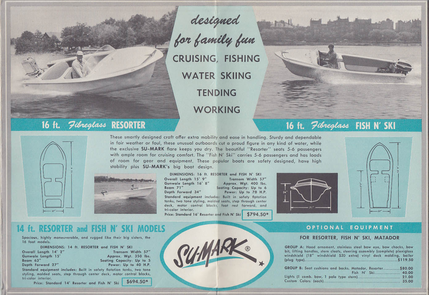 1959 Su-Mark Fiberglass Speedboat sales folder Walpole MA