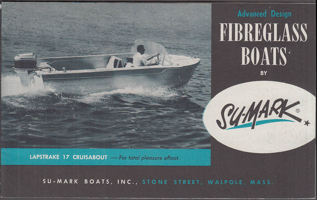 1961 Su-Mark Fiberglass Speedboat sales catalog Walpole MA